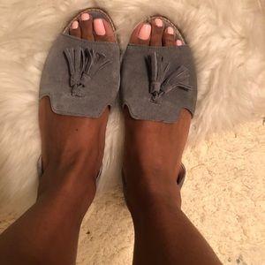 Grey Suede Peeptoe Flats